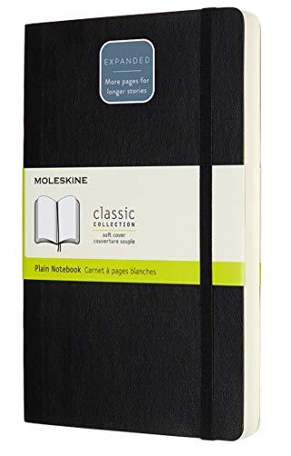 Moleskine Klassisches Blanko Notizbuch (mit Zusatzseiten, Softcover mit elastischem Verschlussband, Größe A5 13 x 21, 400 Seiten) schwarz
