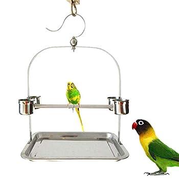 ZWW Pieds pour Cages À Oiseaux, Petite Pendaison Portable Acier Inoxydable Support De Formation De Perroquet Perche Station avec Tasse d'alimentation & Plateau