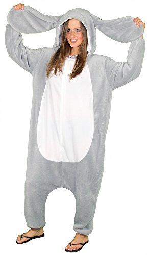 Foxxeo Hasen Kostüm für Erwachsene Größe S- XXL für Damen und Herren grau Hase Hasenkostüm Schlappohren Tierkostüm Tier Overall Fasching Party Motto Größe L