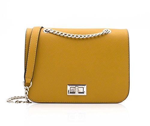 Bolso cruzado amarillo mostaza con cadena dorada