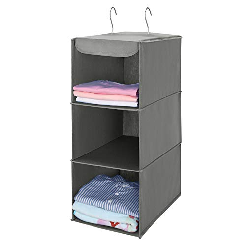 MaidMAX 3 Tiers Cloth Hanging Shelf Closet Organizer 2 Metal Hooks, Foldable, 24 Inches High (Gray)