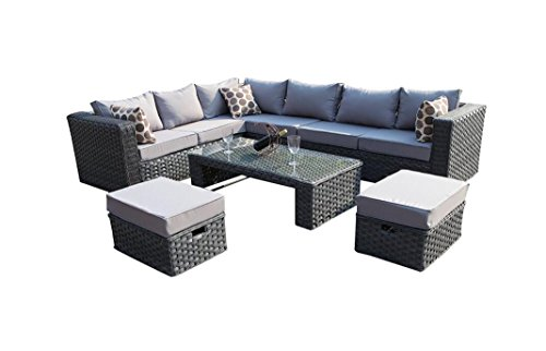 YAKOE 50020R Conservatory Modular Papaver Range Rattan Outdoor Garden Furniture 8-Seater Corner Sofa Set with Furniture Fitting Cover, Grey, 285 x 220 x 68 cm