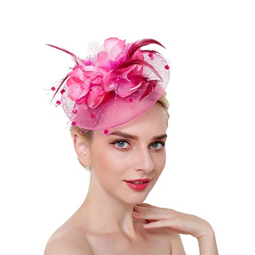 Fascinator Hat for Women Tea Party Headband Kentucky Derby Wedding Cocktail Flower Mesh Feathers Hair Clip 20s Headpiece