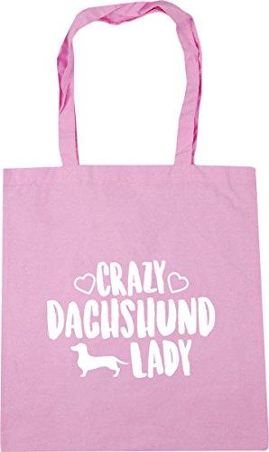 HippoWarehouse Crazy Dachshund lady dog Tote Shopping Gym Beach Bag 42cm x38cm, 10 litres