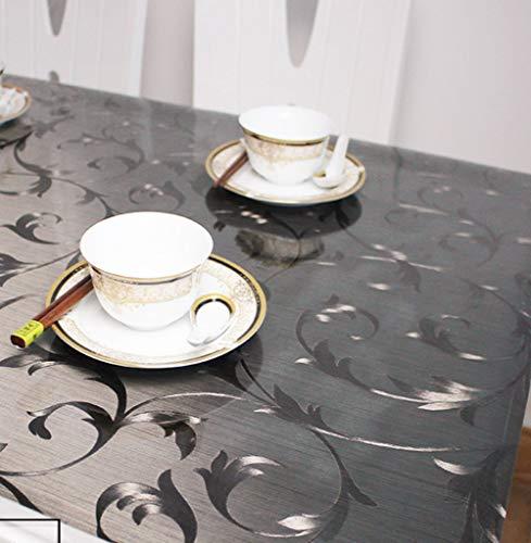 DENG&JQ Schwarz Matt PVC Tischdecken,Transparent Weichglas Wasserdicht Esstisch Tischdecken Kunststoff TischMatt Waschen Öl Coffee Table-B 80x80cm(31x31inch)