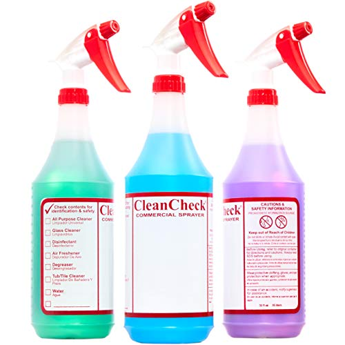 Extra Safe, Bilingual MSDS Spray Bottles 3 Pack. Large, Empty 32 Oz Bottle Perfect for Professional Cleaning Solutions, Sanitizers or Household Cleaners. Best Heavy Duty Plastic Bottle With Data Sheet