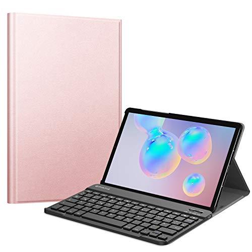 Fintie Tastatur Hülle für Samsung Galaxy Tab S6 10.5 2019 (Kompatibel mit S Pen kabelloser Ladefunktion) - Ultradünn Keyboard Case mit magnetisch Abnehmbarer drahtloser Deutscher Tastatur, Roségold