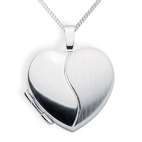 Haus der Herzen Medaillon 925 Silber Herz zum öffnen für Bildereinlage/ 2 Fotos Amulett (Kette 925 Siber)