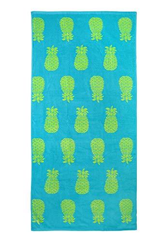 jilda-tex Toalla de playa, 90 x 180 cm, toalla de baño, toalla de playa, toalla de mano, 100% algodón, de rizo, fácil cuidado (Pineapple Allover Yellow)