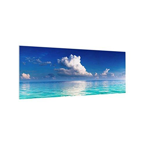 Bilderwelten Panel antisalpicaduras de Cristal - Turquoise Lagoon - Panorámico, Panel antisalpicaduras Panel de Vidrio para Cocina Panel Protector contra Salpicaduras, Tamaño: 50cm x 125cm