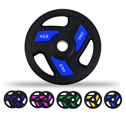 Printasaurus 2 inch Bumper Olympic Rubber Weight Grip Plate Sets Multi Weights 5.5LB/11LB/22LB/33LB/44LB for Men Women Home Gym Weightlifting Crossfit Bodybuilding Strength Training (44lb×1)