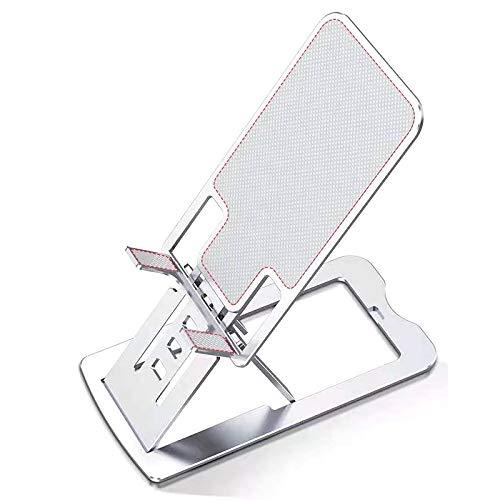 YOPU Soporte para tablet de teléfono general, plegable, de aleación de aluminio, ajuste delgado, antideslizante, soporte para teléfono móvil (plateado)