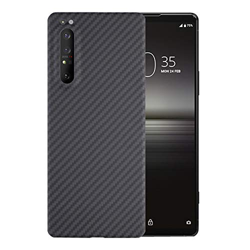 Carbon Fiber Phone Case for Sony Xperia 1 II ,YTF-Carbon Ultra-Thin Anti-Fall Business Cover Xperia 1 II 5G Phone case(2020) Aramid Fiber Cases , Does not Affect Wireless Charging- Matte Black