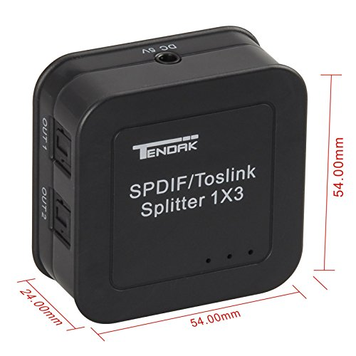 Tendak Digital Optical Audio Splitter SPDIF/Toslink 1 in to 3 Out Powered Amplifier Supports 5.1CH/ LPCM2.0/ DTS/Dolby-AC3