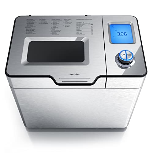 Arendo - Panificadora con compartimento automático para los ingredientes - 25 programas - Horneado sin gluten - Función yogur - Capacidad de 1 kg - Accionamiento directo - Antiadherente - Sin BPA