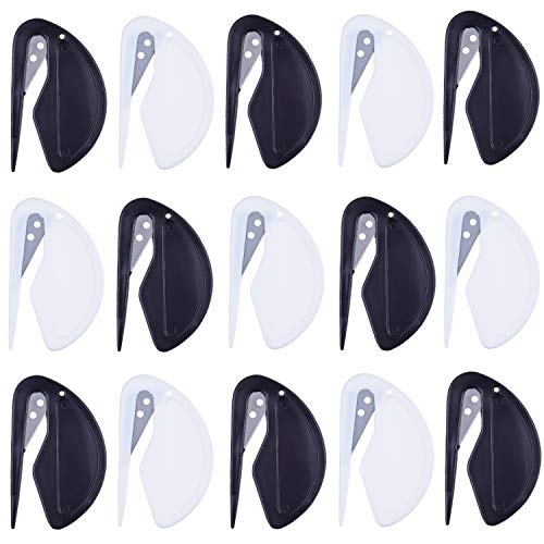Abridores de sobres – Paquetes de 15 – Abrecartas/cortadora – Hoja afilada – Rápida, segura y fácil – Solo inserte y deslice – 8x negro + 7x blanco – Herramienta de Oficina esencial