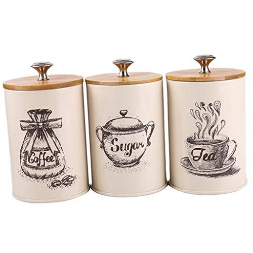Barattolo Caffè Ermetico 3pcs / set Vaso retrò casa Tea Time Cucina Macchina del tè Contenitore zucchero Barattoli di latta del metallo for il tè e caffè Zucchero