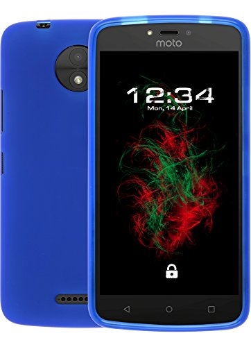 Baluum TPU Matt Blaue Hülle für Lenovo Moto C Plus Schutzhülle Case Cover Handyhülle Backcover Silikonhülle
