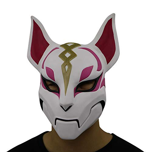 MostaShow Game Battle Royale Fox Kitsune Cosplay Drift Masks Halloween Costume Party Latex Full Face Helmet