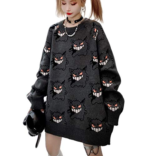 Women Devil Sweater Monster Pattern Long Sleeve Oversized Casual Knitting Jumper Pullover Tops Grey