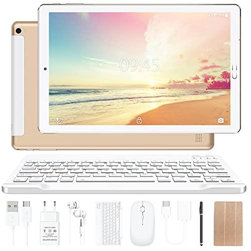 Tablet 10 pollici YESTEL Tablet Android 10.0 con 4 GB di RAM + 64 GB di ROM - WiFi | Bluetooth | GPS, 8000 mAH, con mouse | Tastiera e Cover-Dorato