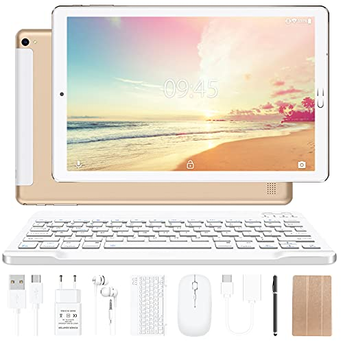 Tablet 10 pollici YESTEL Tablet Android 10.0 con 4 GB di RAM + 64 GB di ROM - WiFi | Bluetooth | GPS, 8000 mAH, con mouse | Tastiera e Cover-Dorato