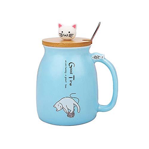 Taza Gato Linda taza de café de cerámica con Gatito encantador tapa de madera Cuchara de acero inoxidable, Novedad Copa de la mañana Té Leche Navidad Jarra Regalo 380ML (Azul)
