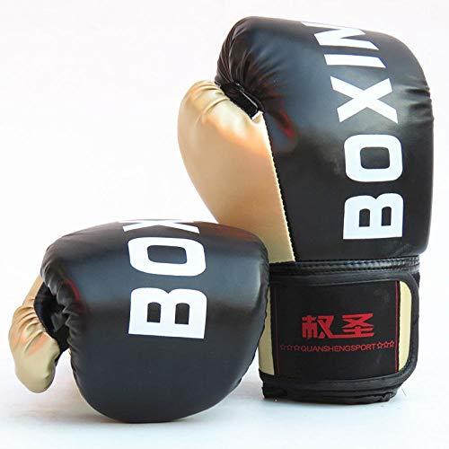 ShanDD Cuoio Muay Thai PU Guantoni da Boxe Donne degli Uomini MMA Gym Training di Grant Guantoni da Boxe Sanda Taekwondo Mano Protect (Color : Adult Black)
