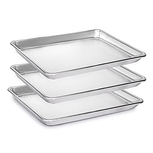 M&N Home 3 Pack Commercial Aluminum Baking Sheets, Restaurant Grade Quarter Size Rimmed Baking Pans (13x9.5in)