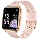 Pard 2021 Lovers Smart Watch, Full Touch Fitness Tracker with Dynamic Heart Rate Monitor, IP68 Waterforoof Sport Wristband for Men Women, Pink