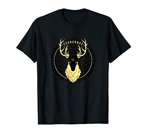 Cernunnos Celtic Pagan Horned Stag Forest God with Pentagram T-Shirt