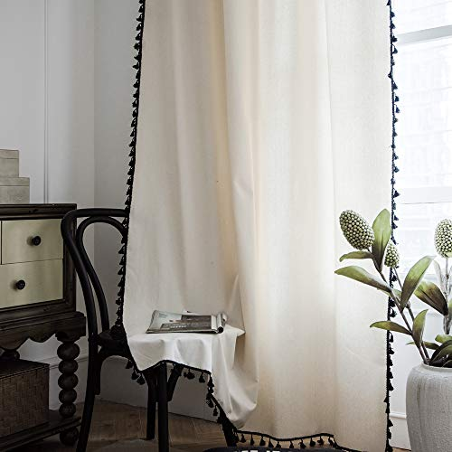 """Lahome Solid Color Tassel Window Curtains - Semi Blackout Cotton Blend Farmhouse Boho Style Drapes Rod Pocket Window Curtain Panel with Tassels for Living Room Bedroom (Cream, 52"""" W x 63"""" L Pair)"""