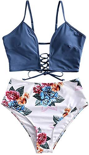 JFAN Mujer Playa Traje de Baño Nudo Delantero de Cintura Alta con Estampado Floral Correas Trenzadas Conjunto de Bikini(Azul,M)