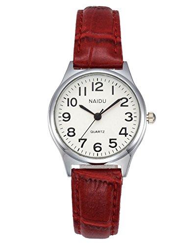JSDDE Uhren Damen Einfache Stil Armbanduhr Quarzuhr Bambusknoten Lederarmband Uhr Arabische Ziffern Analoge Uhr Quarzuhr Kleideruhr für Frauen Mädchen (rot)
