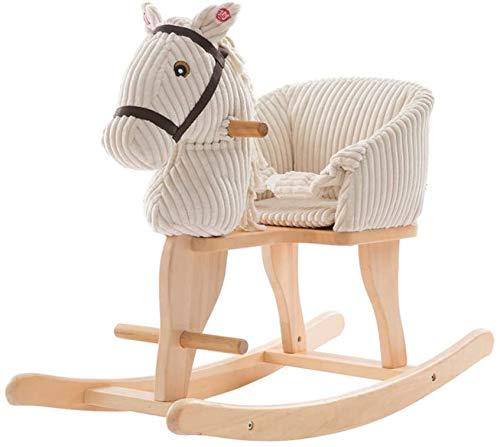 Xinjin Schaukelpferd Baby Rocker für Kinder 1-3 Jahre alt, Holz Kuscheltier für Kinder, White Kid Ride On Toy, Kleinkind Reitspielzeug