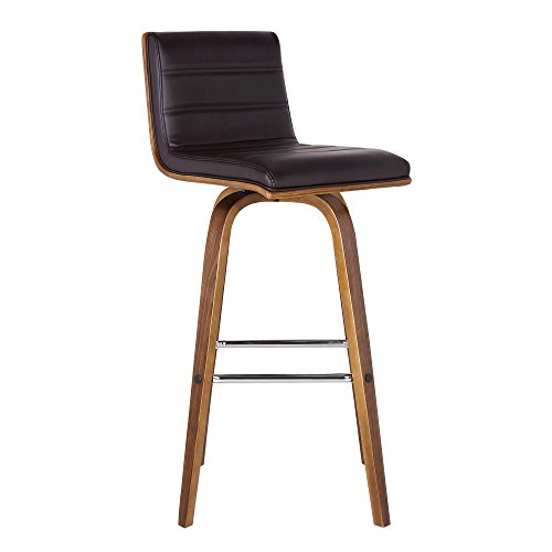 Armen Living Vienna Mid-Century Modern-More color and size option 30' Bar height Barstool Faux Leather Wood Finish, Brown/Walnut