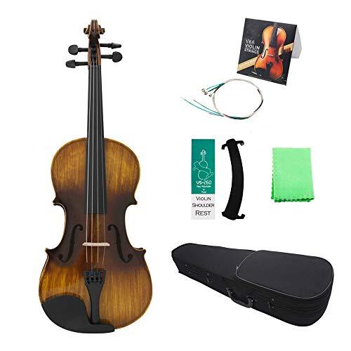 ABMBERTK 4/4 Violino Acustico Vintage Lucido, Pannello in Tiglio Acero, con Borsa, poggiaspalla, Cordino per Ponte di Violino, Panno, Lucido