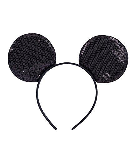 SIX Modisches Haarschmuck mit Minnie-Mouse-Ohren: Disney Haarreif für Frauen– Kostüm » Paillettenbestickter Haarschmuck « Haarreif mit 12 cm Länge - leicht – Karneval - Fasching (315-702)
