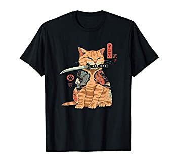 Japanese Samurai Ninja Cat Kawaii Tattoo Graphic T-Shirt