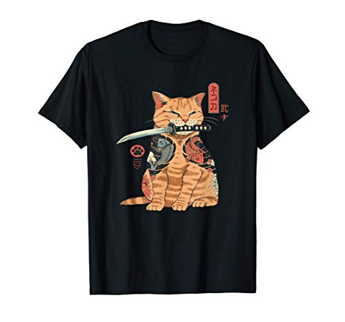 Tatuaje japonés Samurai Ninja Cat Kawaii gráfico Camiseta