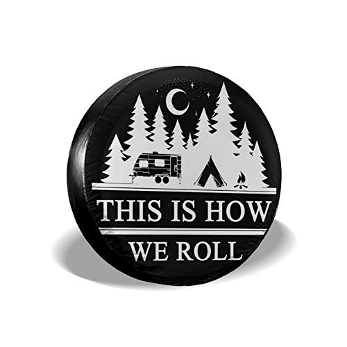 Happy Camper Spare Tire Covers, Waterproof Dust-Proof Tire Protectors, Sun Protection Universal This...