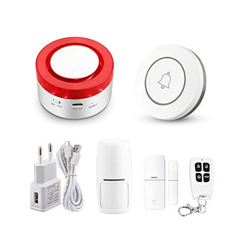 Tuya Smart WiFi Sistema di allarme casa senza fil di sicurezza domestica 433MHz Allarme sirena stroboscopica wireless compatibile con Alexa Google Home APP antifurto samrt life (KIT 1)