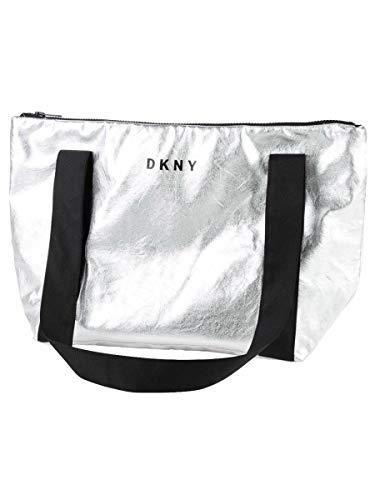 DKNY Kinder geräumige Kunstleder Tasche mit Logo silber mit schwarzen Trägern