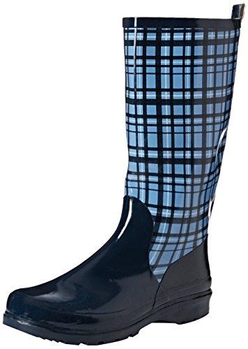 Playshoes Damen Gummistiefel, trendiger Regenstiefel aus Naturkautschuk, mit herausnehmbarer Innensohle, mit Karo-Muster, Blau (Blau 7), 36 EU