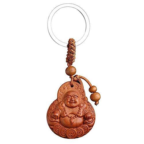 Vektenxi Premium Qualität Naturholz Schön Glück Buddha Auto Schlüsselring Schlüsselanhänger Ornamente Geschenk