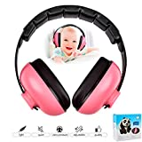 Baby Earmuffs Infant Hearing Protection Headphones Noise Canceling for Children & Infants Industry Leading Noise Reduction Rating Baby Ear Protection (Rose Red)