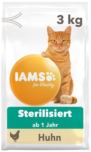 IAMS for Vitality Sterilised Katzenfutter trocken - Trockenfutter für sterilisierte / kastrierte Katzen ab 1 Jahr, 3 kg
