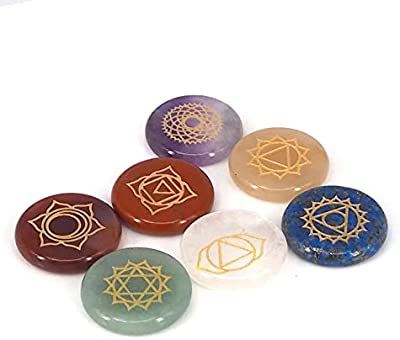 LINGXI Chakra Stones,Reiki Healing Crystal with Engraved Chakra Symbols for Chakra Healing, Anxiety Relief,Cure Sadness,Meditation (Round-1)