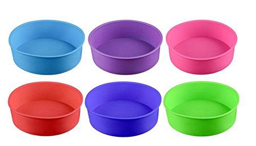 DaoRier Runde Silikon Backformen Silikonformen Backen Silikonformen rund für Schokoladenkuchen Gelee Eiswürfel, 1 pcs zufällige Farbe
