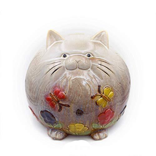 XHAEJ Hucha de gato hecha a mano alcancía de cerámica gris flor Hucha de dinero regalo de cumpleaños elección de Navidad